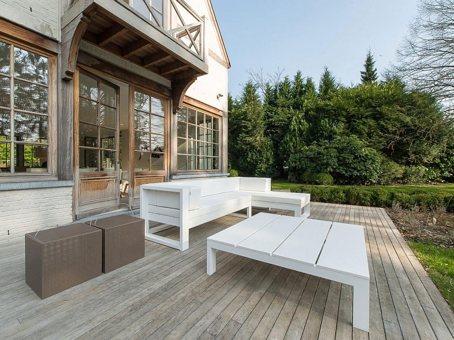 Beautiful lounge on the deck has a stylish rustic appeal