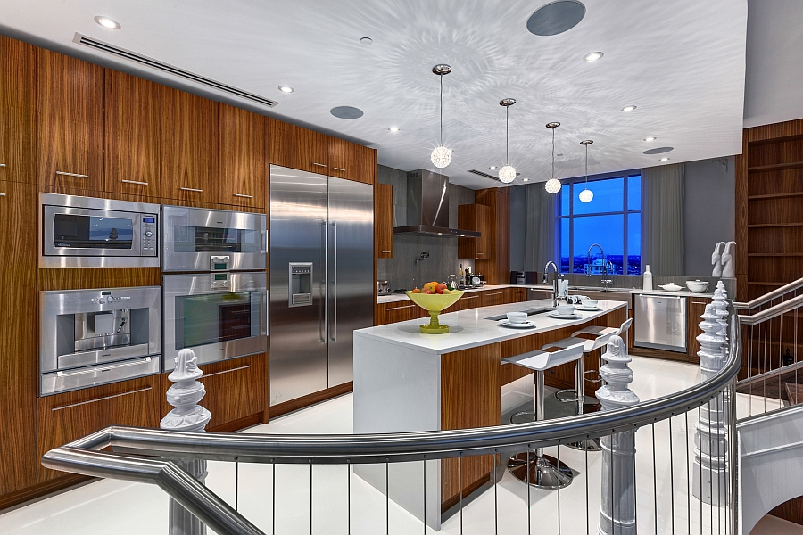 Beautiful modern kitchen with wooden cabinets and a smart island