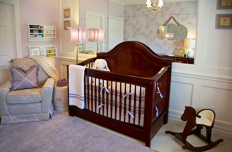 Beautiful modern nursery in purple with hints of pink and green