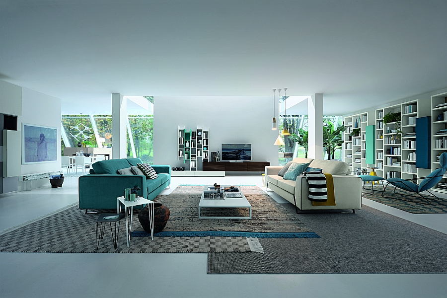 Beautiful pops of turquoise and decor in matching hue create a truly stunning living room