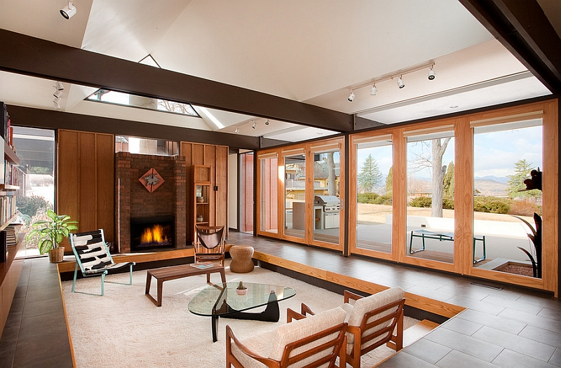 View In Gallery Beautiful Sunken Living Room With Unabated Views Of The  Outdoors