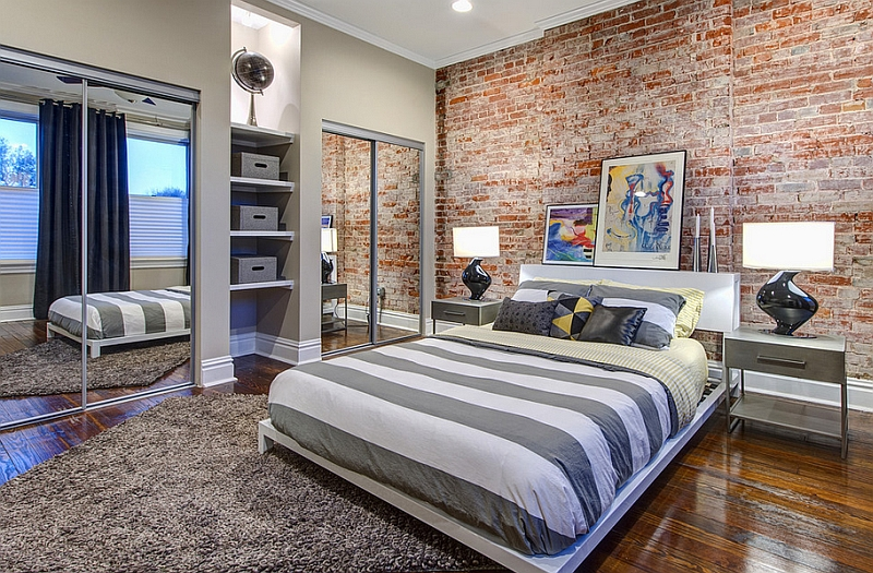 beautiful use of the brick accent wall in modern bedroom