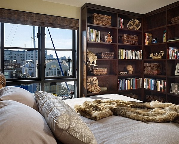 Bedroom Corner bookshelf idea
