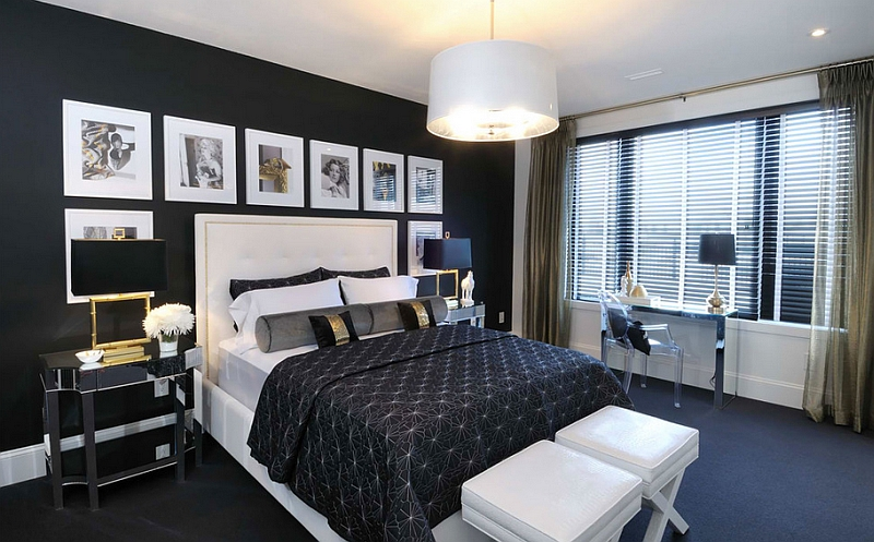 Black and white in the bedroom create a Hollywood Regency style thanks to the pops of gold