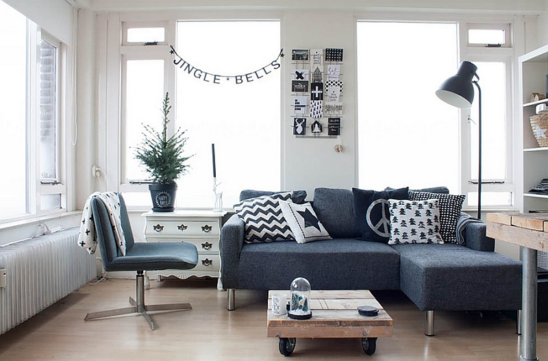 Black and white living room with some Christmas cheer