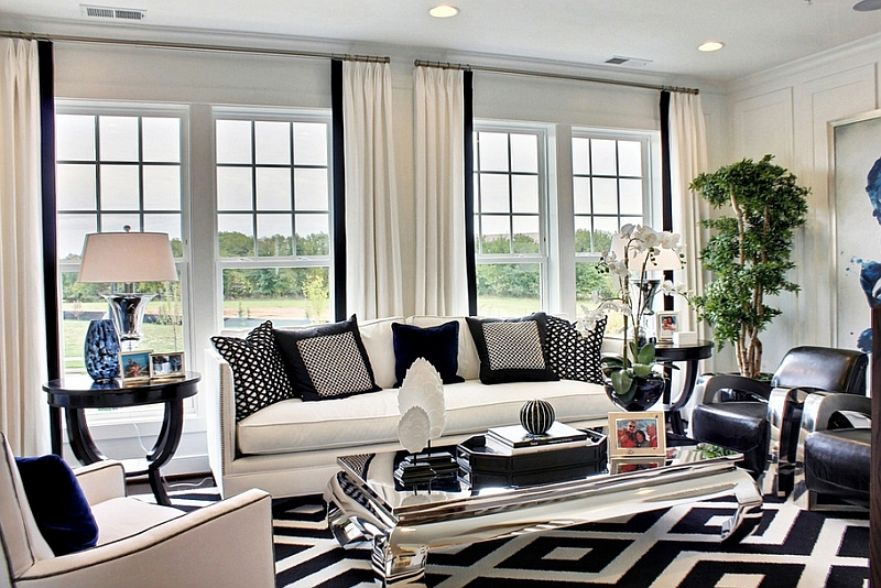 Black defines, highlights and brings sophistication to this living room