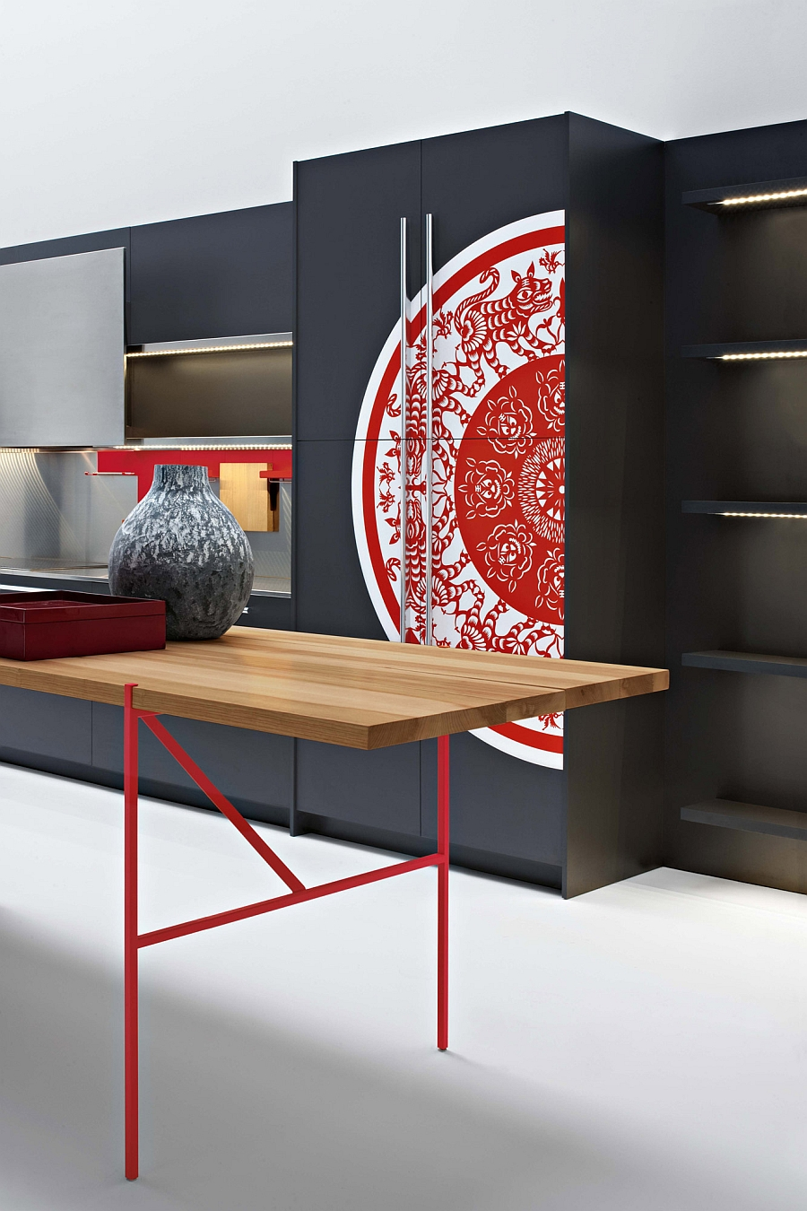 Bold red additions shine through thanks to the neutral backdrop