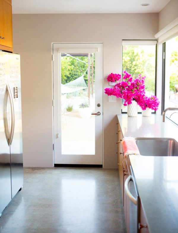 Bougainvillaea in a modern kitchen