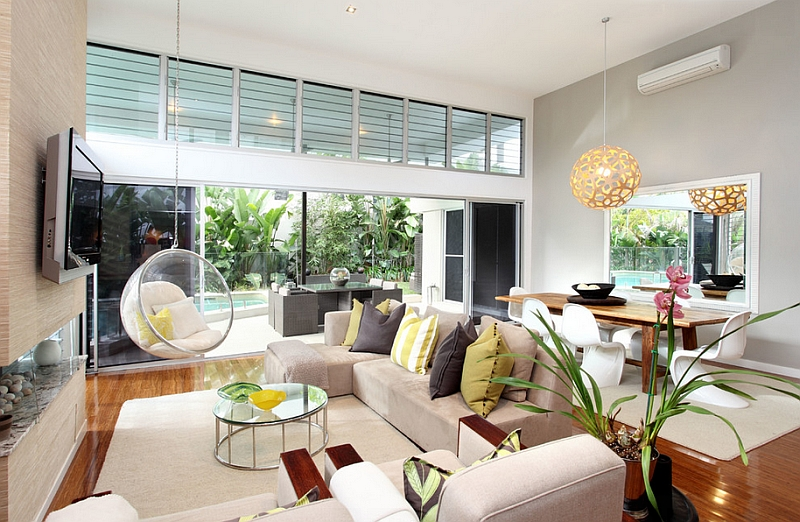 Breezy modern living room with the iconic Bubble Chair and the lovely Coral Pendant