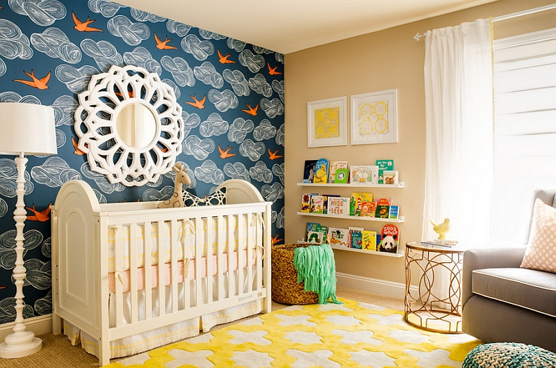 Bright and elegant nursery brings together blue and yellow with pops of orange