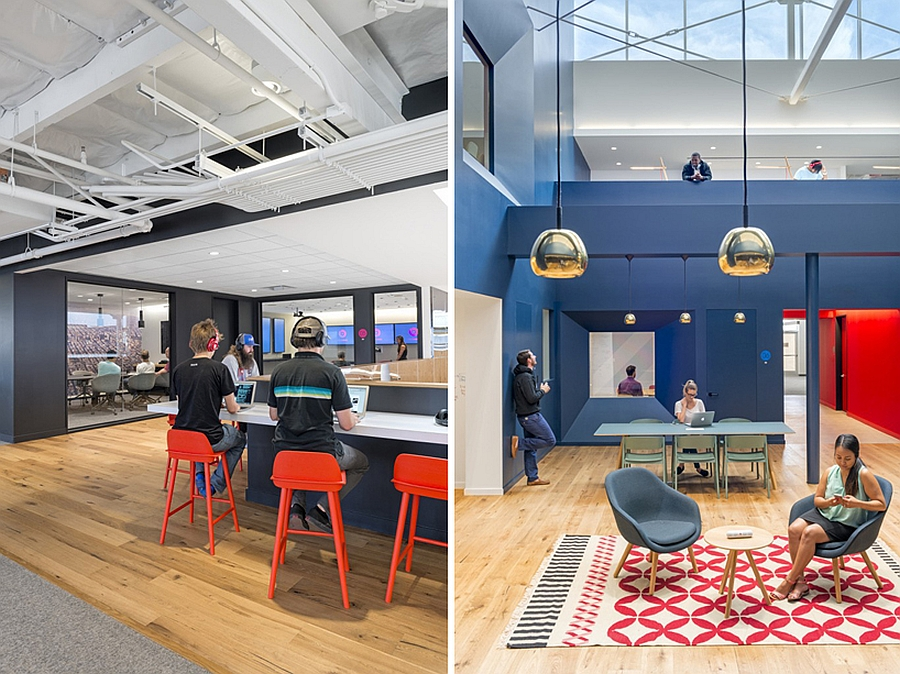 Bright colors and beautiful pendant lights enliven the Beats Headquarters
