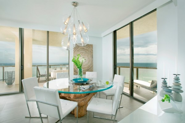 Bright modern dining room with an ocean view