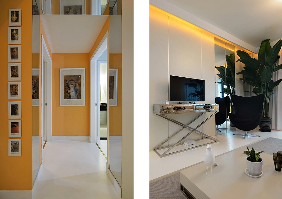 Bright orange lighting and accents give the home vibrant energy