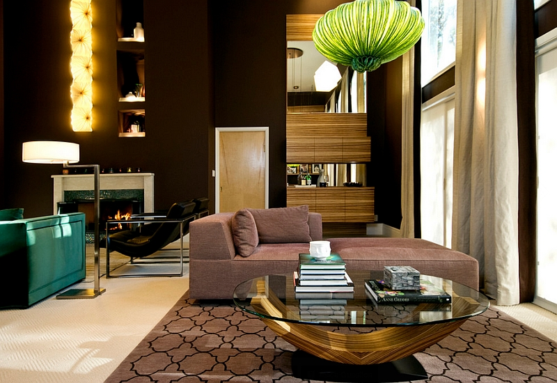 Bright pendant light and smart rug add Moroccan accents in an elegant manner