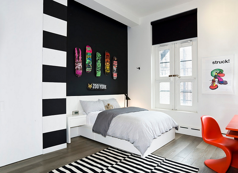 Bright pops of color and restrained use of black in the stylish teen bedroom