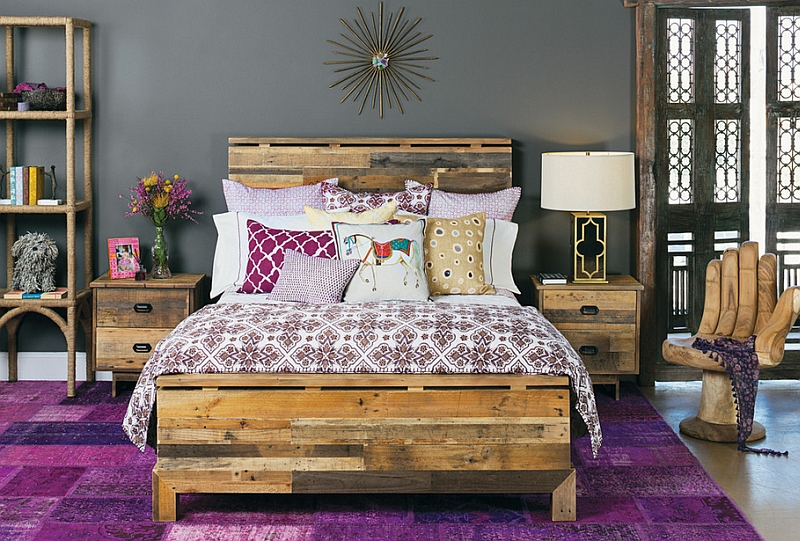 Bright purple of classic Moroccan design combined with steely modern grey