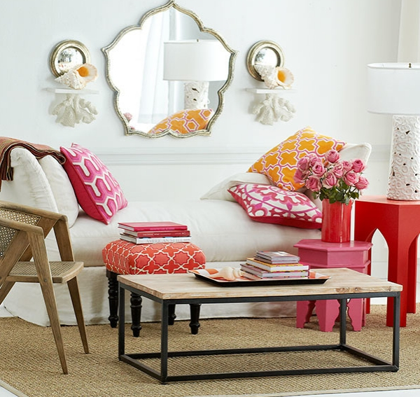Bright reds steal the show in this Moroccan living room