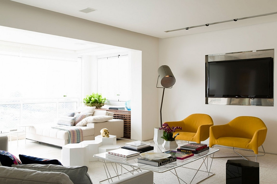 Bright yellow accent chairs in the living room