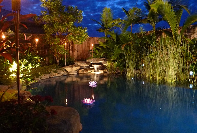 view in gallery brilliant led lighting turns the small natural pool into a magical setting. Interior Design Ideas. Home Design Ideas