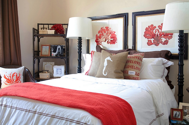 Bring in some coral hues with smart fabric accents and decor
