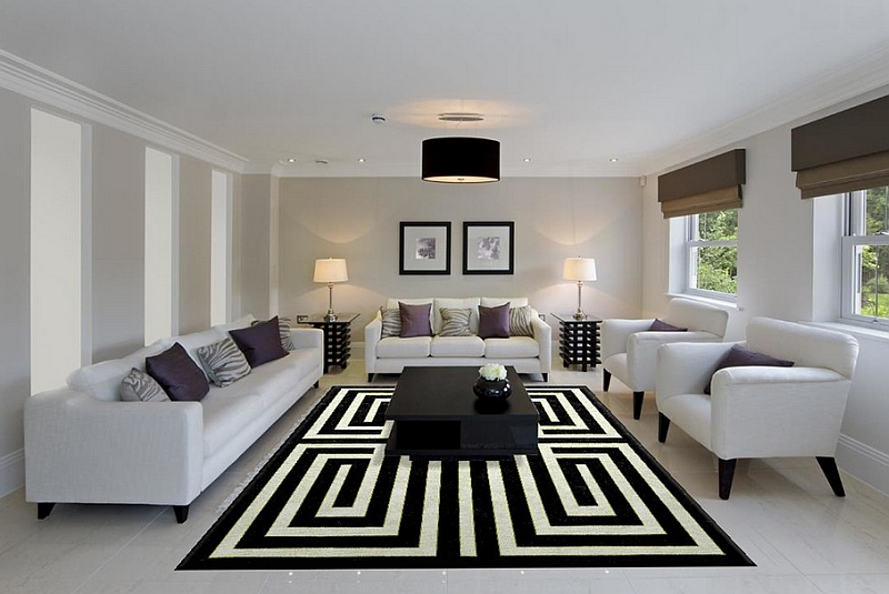 View in gallery captivating rug ensures that this cool living room has a striking centerpiece