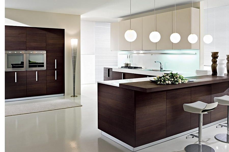 Chic modern kitchen with dark wood finishes and an ergonomic kitchen island