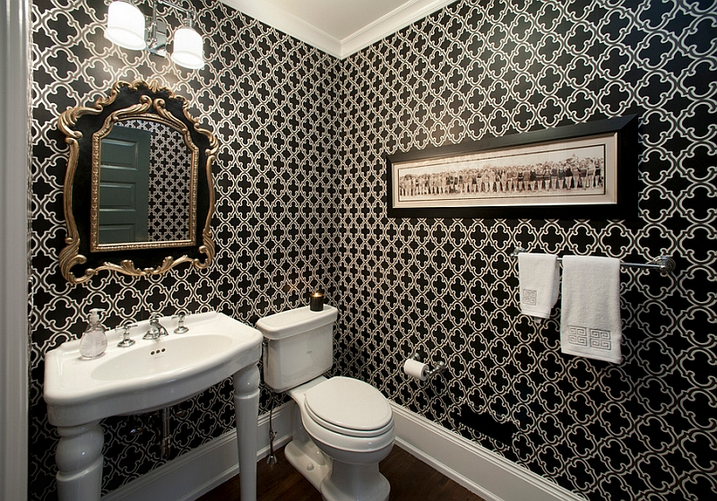 Classy use of black in the chic powder room