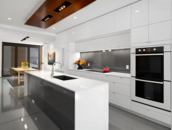 Clean-lined glossy modern kitchen