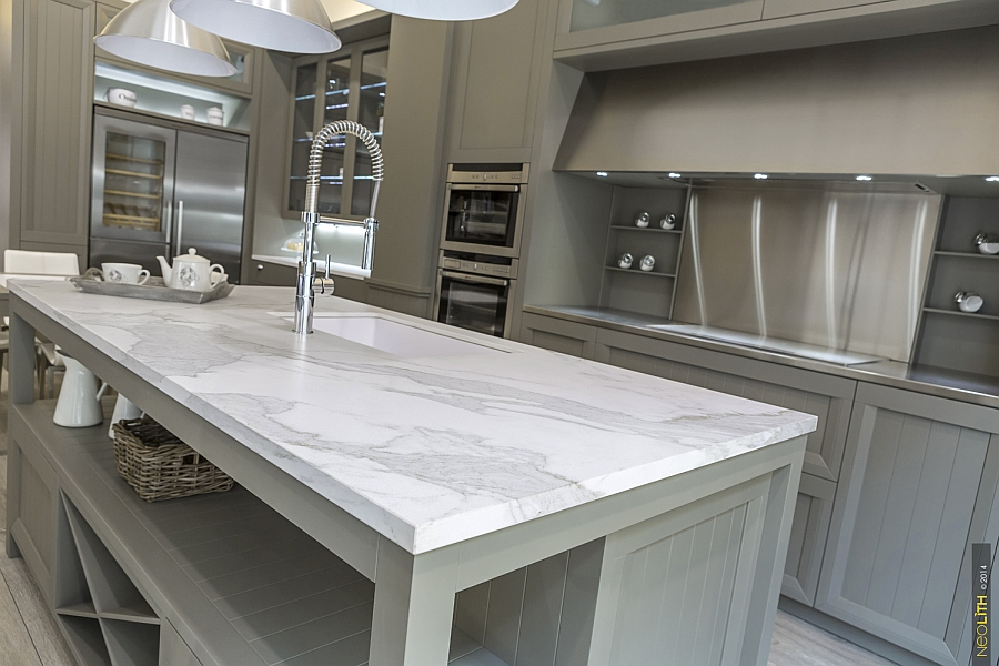 Closer look at the kitchen island featuring the ingenious new Neolith Estatuario