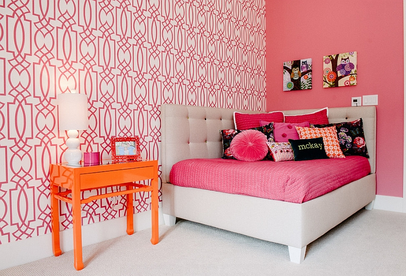 Colorful kids' room with a cool corner bed