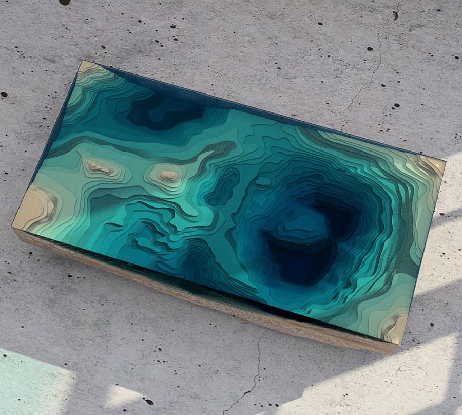 Colorful top of the Abyss table with varying hues