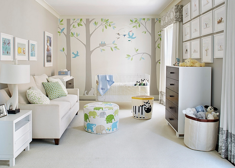 Combination of colors and patterns makes the nursery far more interesting