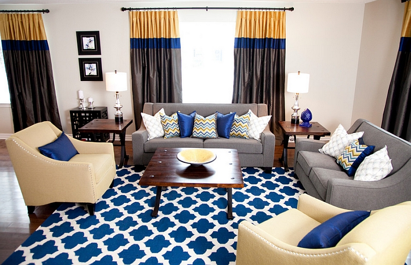 Exciting Navy Blue White Living Room