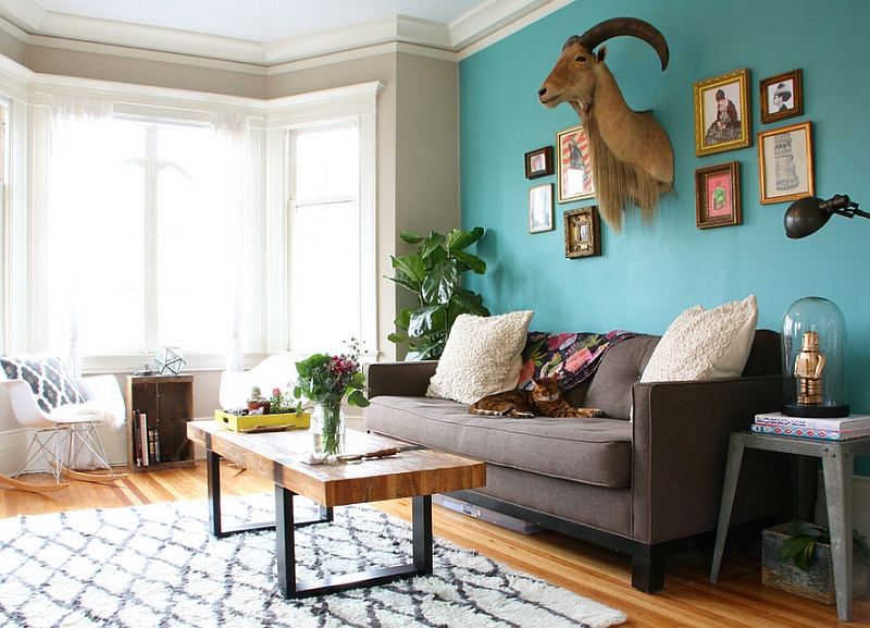 Good Orange Teal Grey Living Room