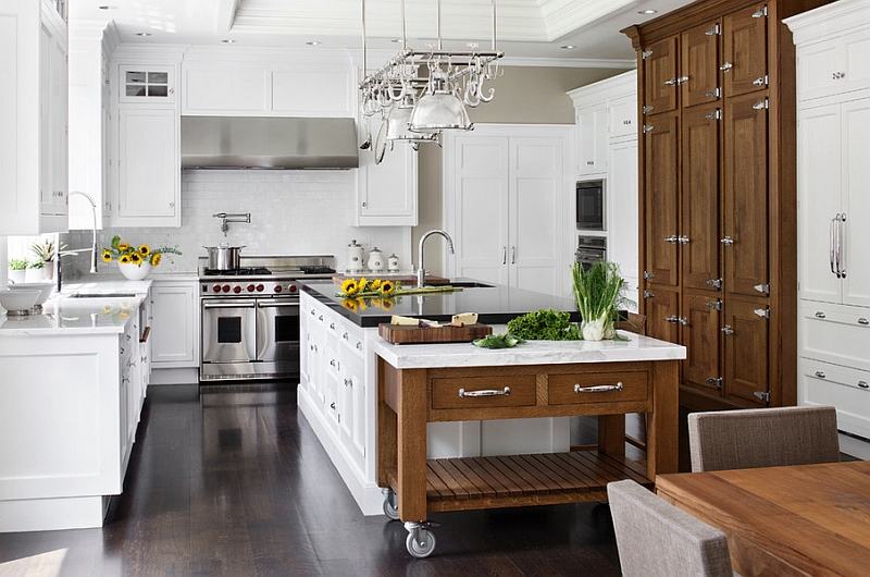Combine the rolling island with the traditional kitchen island in an elegant manner