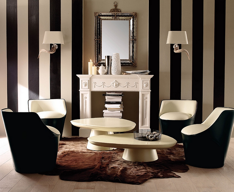 Combining a traditional design style with trendy additions like vertical black and white stripes