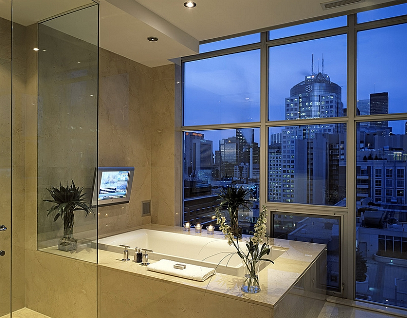 Contemporary bath with a view of the city skyline