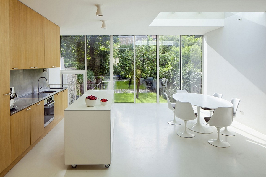 Contemporary mobile kitchen island in all-white