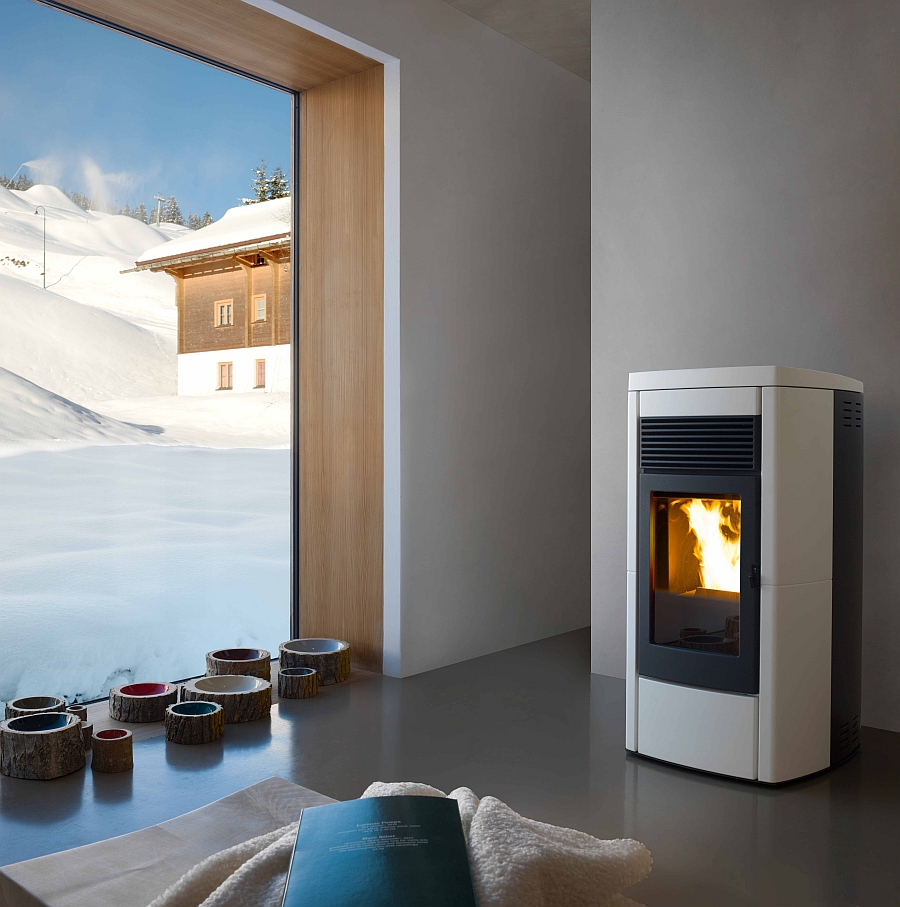 Contemporary pellet-burning stove heats up radiators and your floors as well