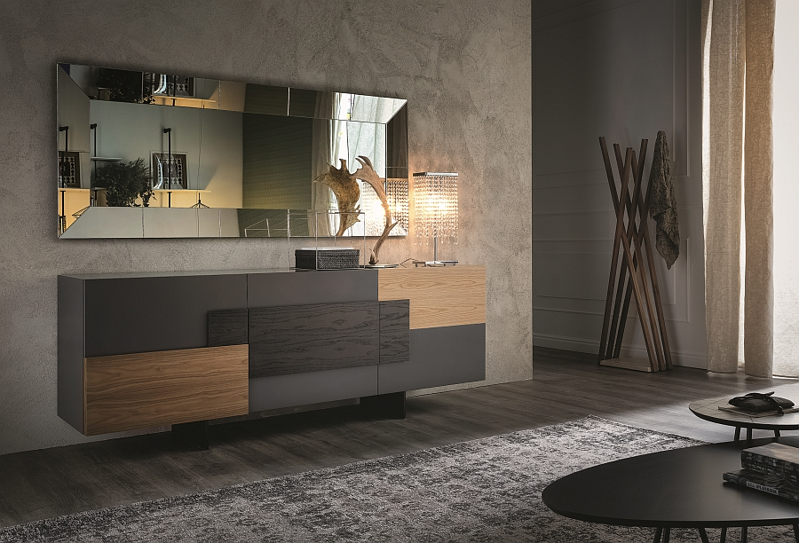 Contemporary sideboard design in matt graphite varnished frame