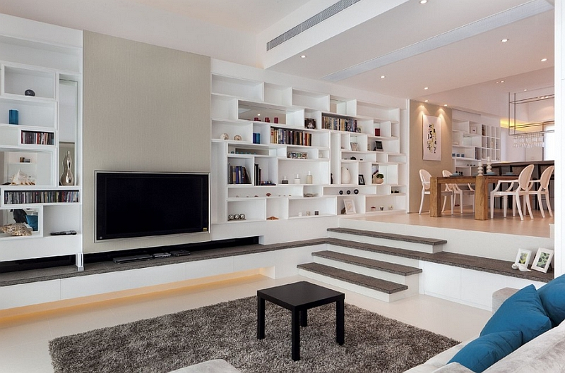 Contemporary sunken living room offers a quiet and private retreat
