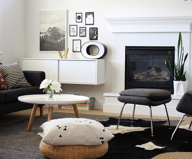 Contrasting textures bring a hint of playfulness to the black and white room
