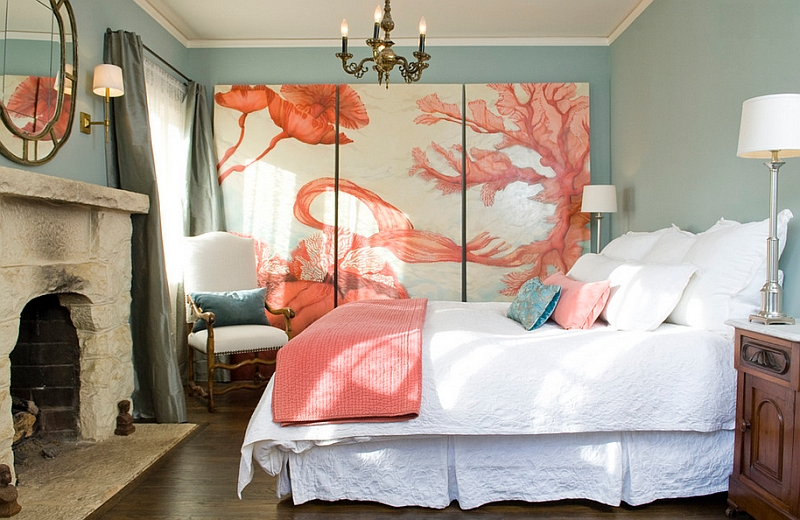 View in gallery Coral combined with light blues usher in a Mediterranean  charm