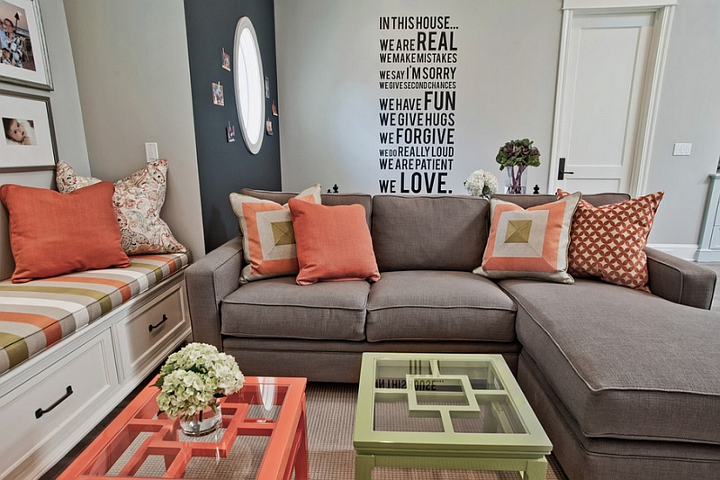 View In Gallery Coral Coupled With Refreshing Lime Green To Create A Breezy Living  Room Part 38
