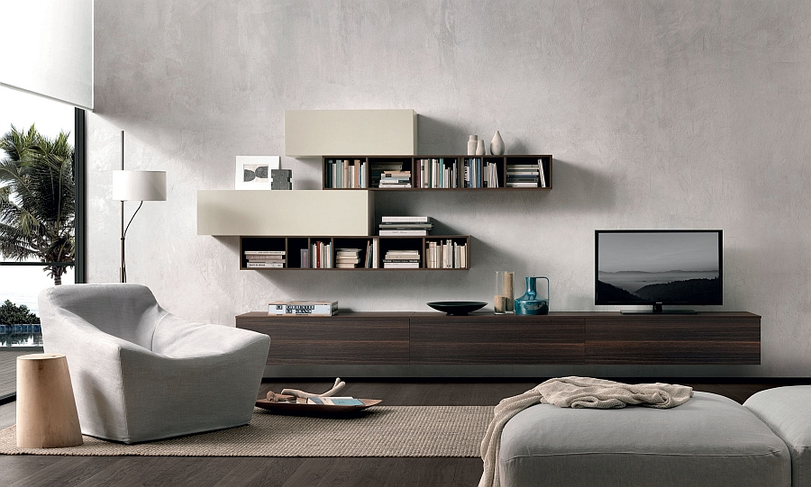Cozy decor and floating wall units for the stylish, contemporary living space
