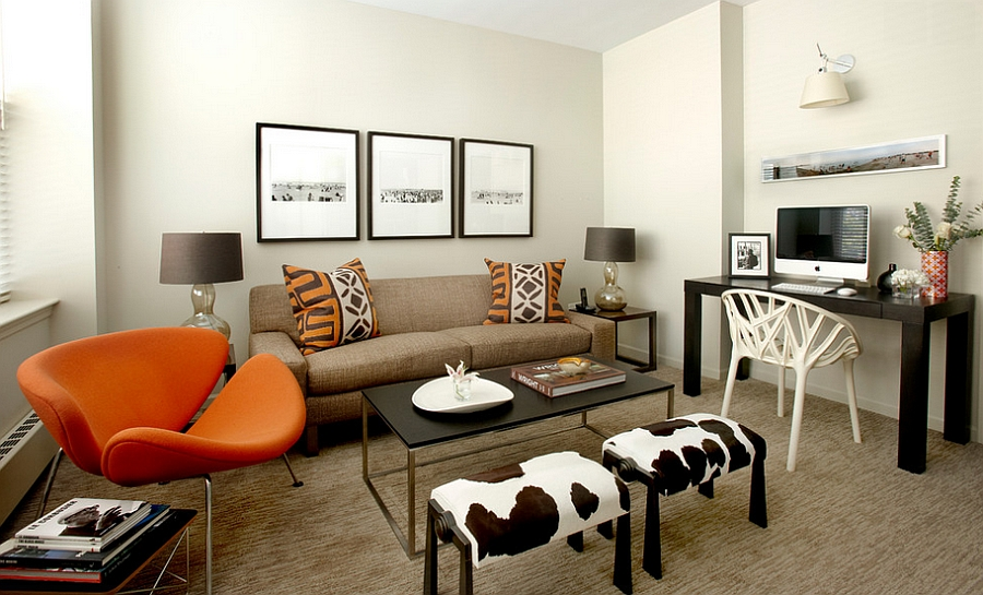 Cozy family room looks even more inviting thanks to the dramatic Orange Slice chair! [Design: Robyn Shapiro]