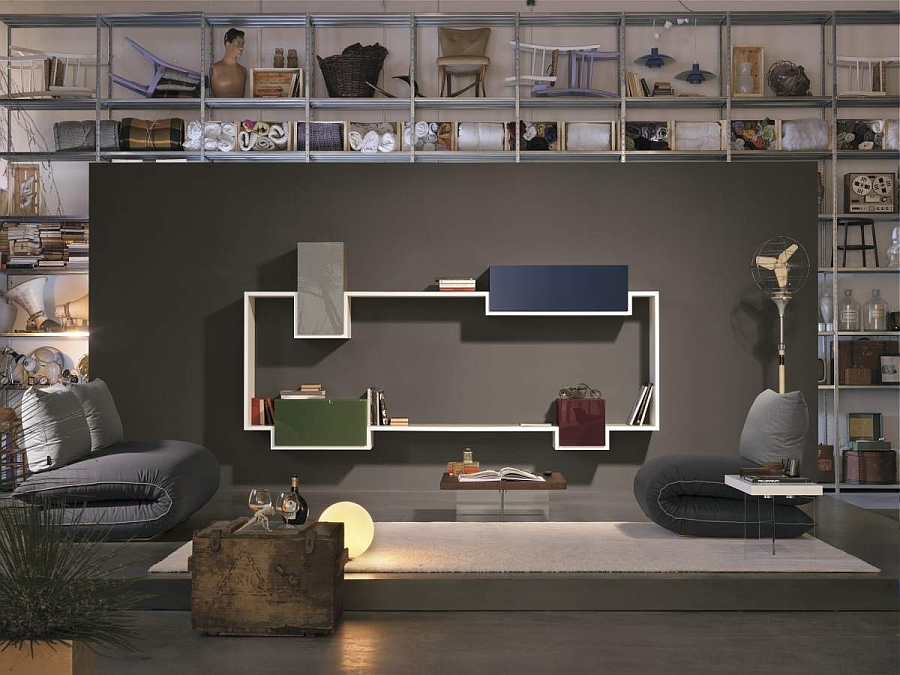 Creative way of using modular wall units along with a bookshelf