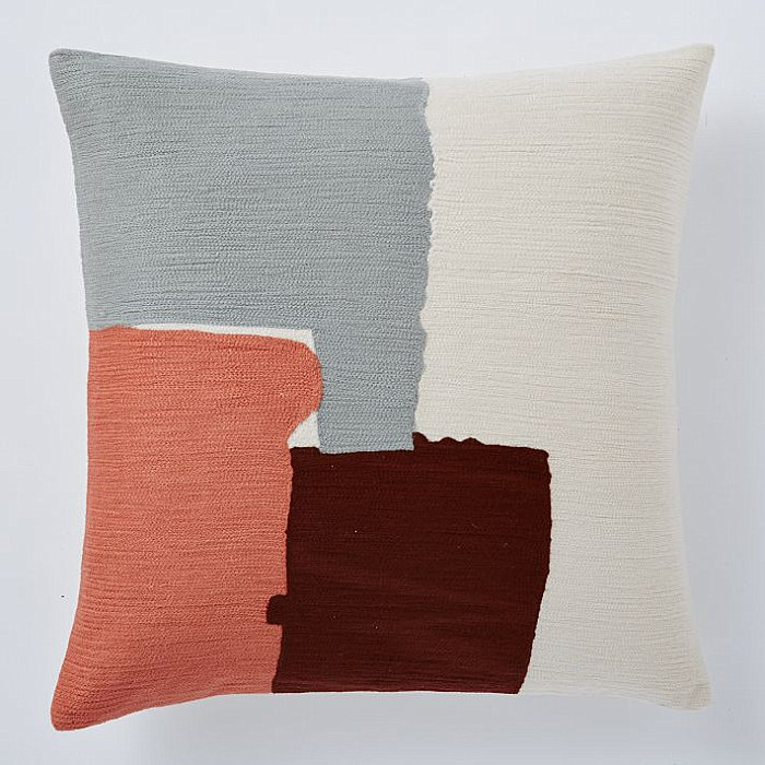 Crewel pillow cover