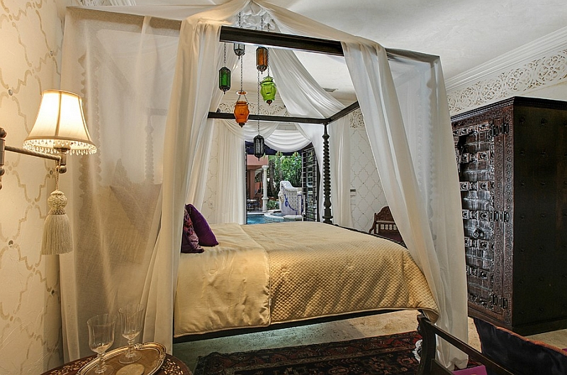Cut down on heavy, bright hues to give the Moroccan bedroom a stronger Mediterranean theme