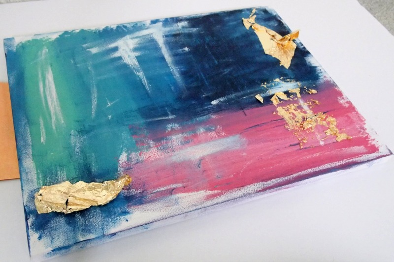 DIY Abstract Painting with Gold Foil - Adding the golden glint!